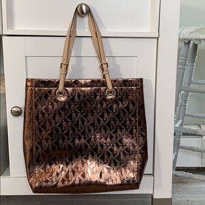 Large bronze metallic Michael Kors bag